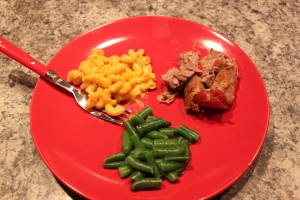 I served it with homemade mac & cheese & green beans with light butter & seasoned pepper.